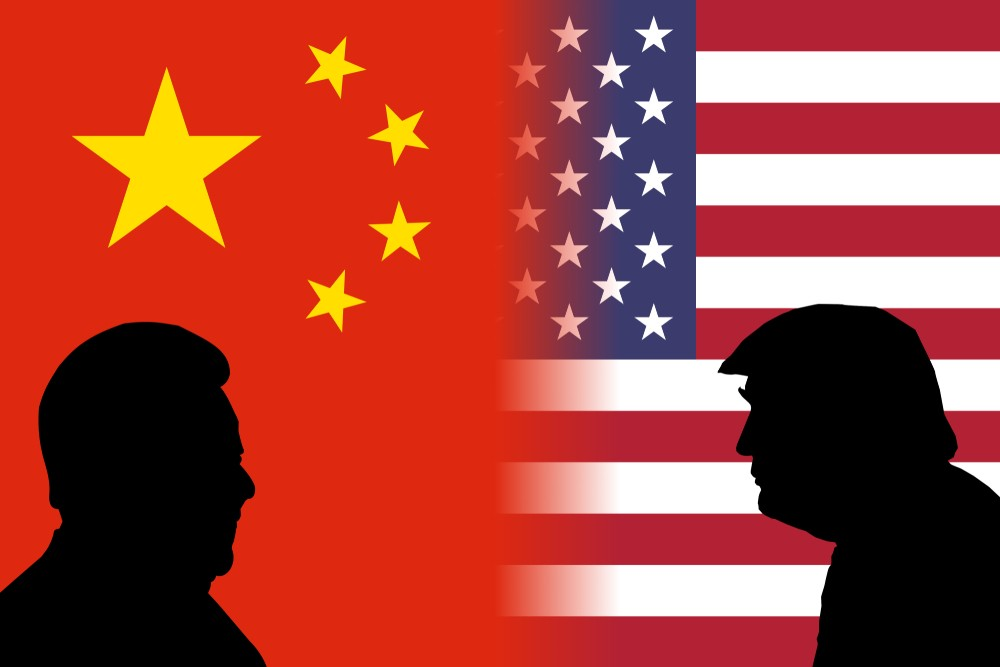 Concept illustration of face off between US and Chinese heads of state.