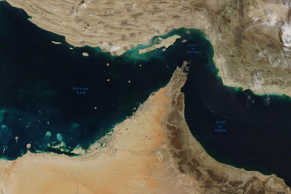 Aerial view of the Strait of Hormuz