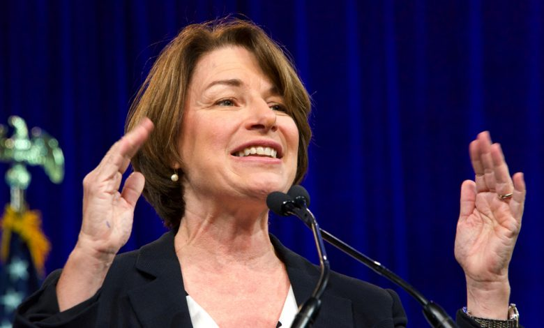 Amy Klobuchar speaking at the Democratic National Convention.