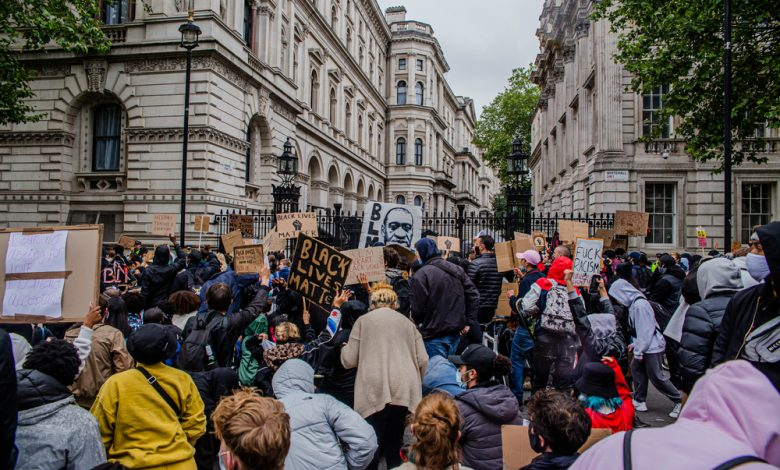 Black Lives Matter protesters gather outside the US Embassy and Downing Street.
