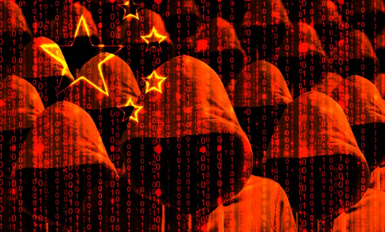 Group of hooded hackers shining through a digital chinese flag.
