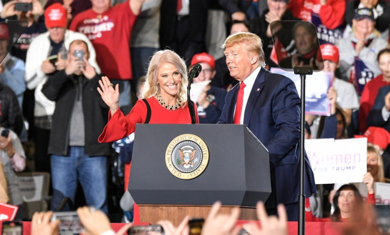 White House counselor Kellyanne Conway joins U.S. President Donald J. Trump during a campaign rally.
