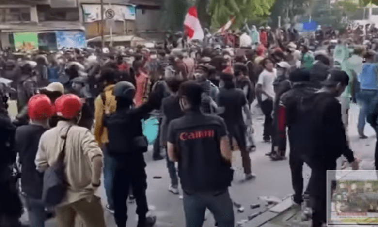 Indonesians protesting over new labor laws.