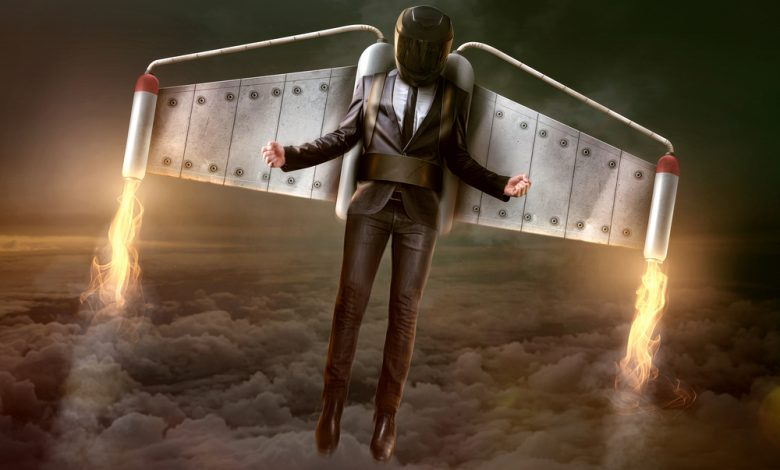 Image of a man flying with a jetpack