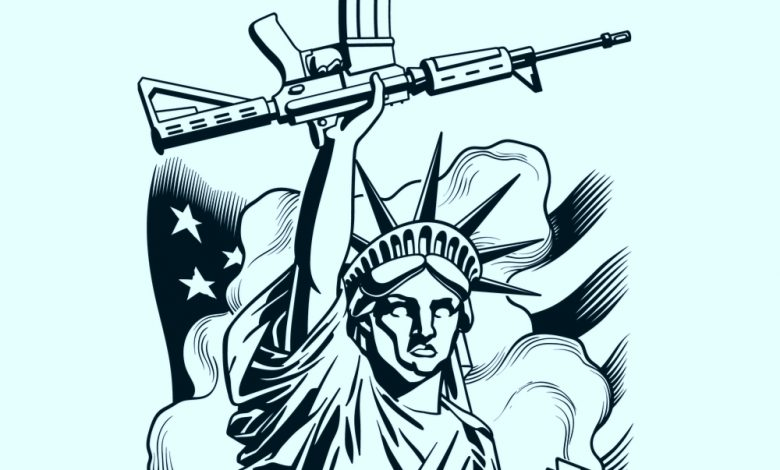 illustration of statue of liberty holding a rifle