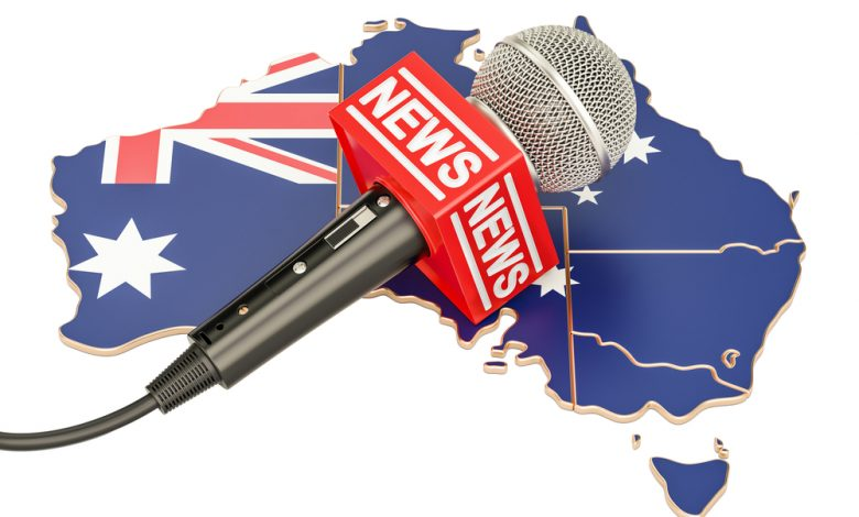 Illustration of Australia with a news microphone overlaid.