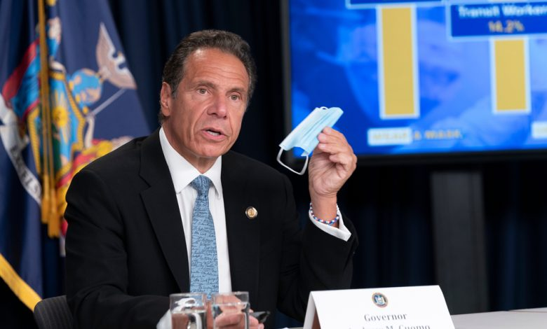 NYS Governor Andrew Cuomo conducting a press briefing.