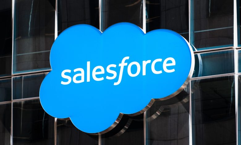 Close up of Salesforce logo displayed on one of their towers in downtown San Francisco.